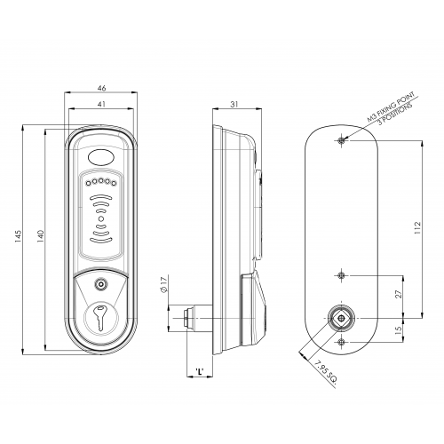 Pulsar Wet Area RFID Electronic Lock 3787 Technical Drawing