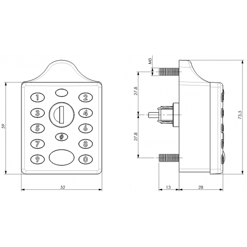Digital Lock for Steel Lockers 3790 Technical Drawing