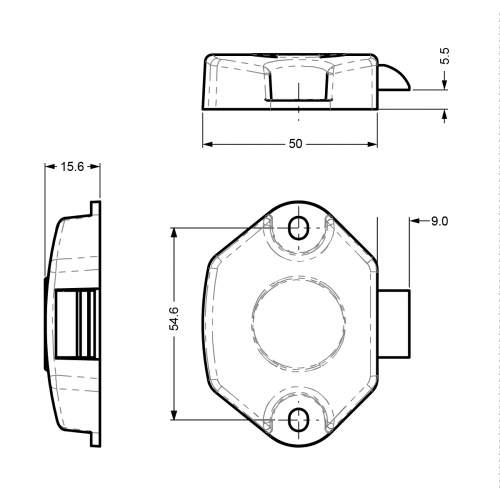 Electronic Slamlock 37800/2382 Technical Drawing