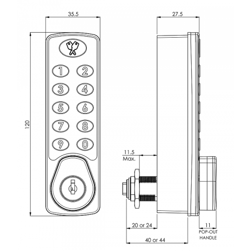 Horizon Digital Lock 3950 Technical Drawing