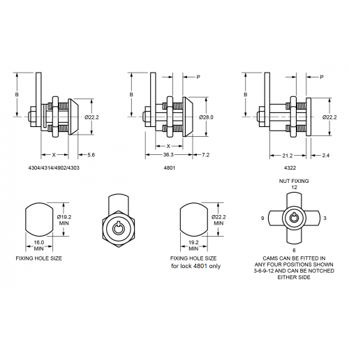 12-30mm RPT Cam Lock 4304 Technical Drawing