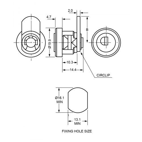 10.3mm Cam Lock B525 Technical Drawing