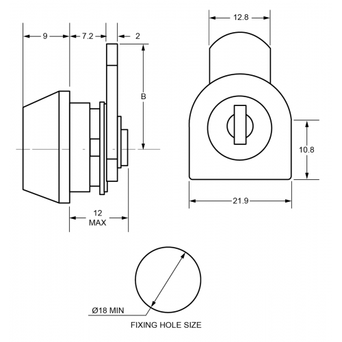 7.2mm Mini Cam Lock F503 Technical Drawing