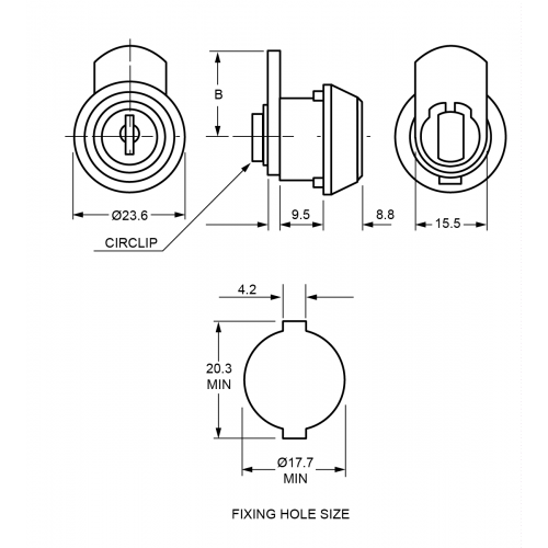 9.5mm Mini Cam Lock 1320 Technical Drawing