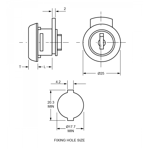 8.1mm-9.7mm Mini Cam Lock TJ5C Technical Drawing